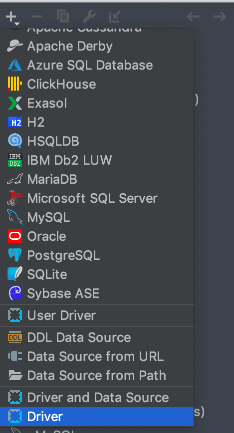Datagrip select driver